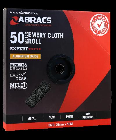 ABRACS Emery Cloth Roll 25mm x 50mtr  120grit