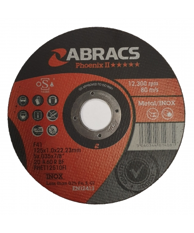 ABRACS Phoenix II 125mm x 1mm extra thin metal cutting disc pk of 50