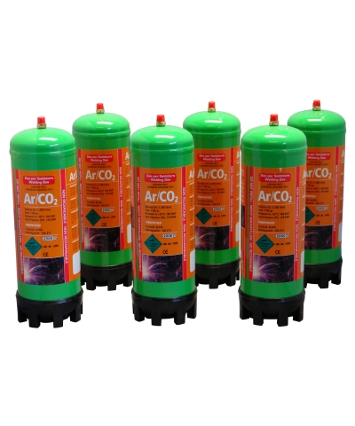 Argon/CO2 2.2ltr Disposable Gas Cylinder Package - 6pk