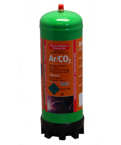 Argon/CO2 Disposable Gas Cylinder - Single