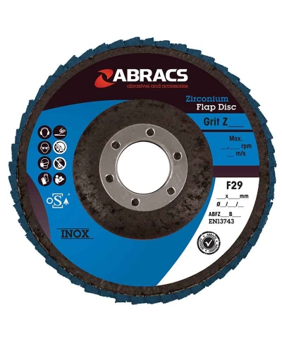 ABRACS 125mm x 22mm x 80grit Zirconium Flap Disc pk of 5