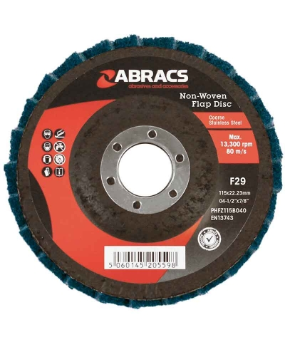 ABRACS Non-woven Flap Disc 115mmx x 22mm fine