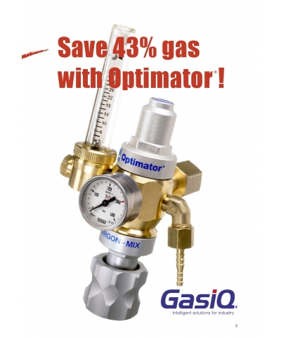 Optimator Gas Regulator for Side Entry Air Products Style Cylinders