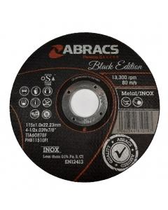 ABRACS Black Edition 115mm x 1mm Extra Thin Metal Cutting Disc pk of 10